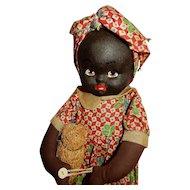ADORABLE 1930's Kreuger Cloth Black Doll