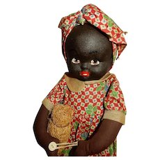 ADORABLE 1930's Kreuger Cloth Black Doll