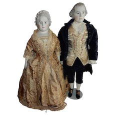 RARE All Original Pair of  Emma Clear George and Martha Washington w/Glass Eyes