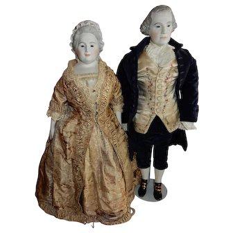 RARE All Original Pair of  Emma Clear George and Martha Washington w/Glass Eyes