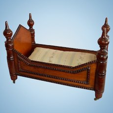 "OUTSTANDING 10"" 19th Century Walnut Doll Bed"