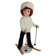 LOVELY 1950's Hard Plastic Mary Hoyer Skier