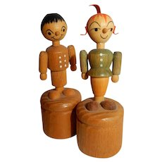 """CUTE and Vintage 3"""" Karl Heinz Max and Moritz Push Puppets"""