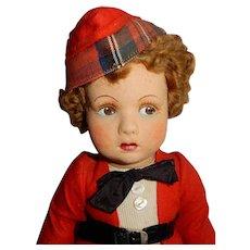 """GREAT 14"""" English felt/velvet Character Doll """"Bobbie"""" by Farnell's Alpha Toys"""