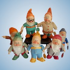 RARE Chad Valley Set of All Seven Disney Dwarves from the Movie Snow White and the Seven Dwarves