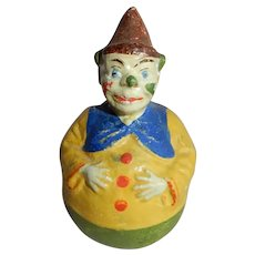 CUTW and Tiny c. 1940's Compostion Roly Poly Clown