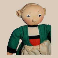 """SWEET 8"""" Stockinette French Character Doll Becassine circa 1920's"""