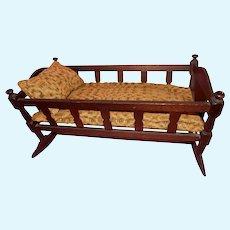 BEAUTIFUL Antique Doll Cradle with Antique Homespun Bedding