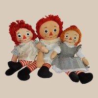 CHARMING Three Vintage Raggedy Ann Dolls Georgene and Knickebocker
