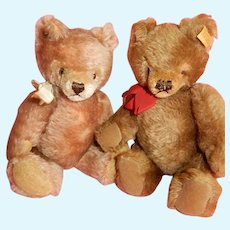"CHARMING Pair of 9"" Steiff Teddy Bears c. 1950's"