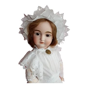 """PRETTY 26"""" German bisque child by Kestner with original body and body finish."""