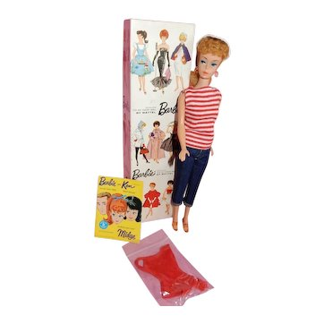 LOVELY Number 6 Ash Blonde Ponytail Barbie Doll in Original Box.