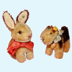 SWEET 1940's-50's Vintage Small Steiff animals Sonny the Rabbit and Terry the Terrier