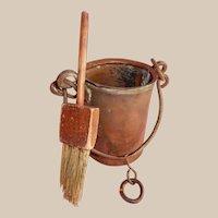 GREAT Primitive Antique Copper Paint Bucket and Brush