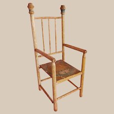 OUTSTANDING Antique Painted French Doll's Chair