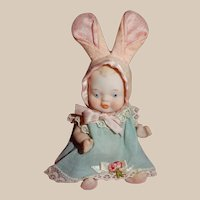 SO CUTE Made in Japan Vintage All Bisque Baby Doll