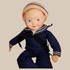 "SWEET 16"" Cloth Sailor Doll By Richard Krueger w/Music Box"