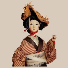 "Lovely 20"" Silk Japanese Geisha/Ceremonial Doll"
