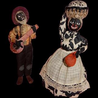 WONDERFUL Pair of  Loveleigh Novelties Walnut Head Dolls