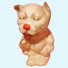 """SO CUTE 2.5""""  Bonzo Celluloid Candy container by Juno in Germany"""