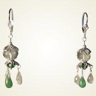 Prasiolite Green Amethyst Tsavorite Garnet Briolette Sterling Silver Earrings