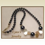 Classic Tahitian Black Colored Shell Pearl Mother of Pearl 22 Kt Gold Vermeil Necklace