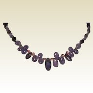 Tanzanite Iolite Pink Tourmaline Briolette Bali Sterling Silver Necklace