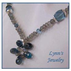London Blue Topaz Flashing Labradorite Sterling Silver Necklace