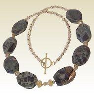 Kambaba Jasper Swarovski Crystal 14Kt Gold Fill 22Kt Vermeil Necklace