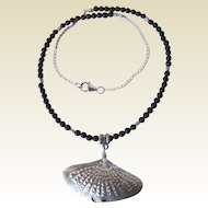 Thai Fine Silver Manta Ray Black Onyx Sterling Silver Necklace