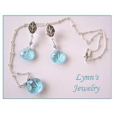 Carved Aqua Hydro Thermal Quartz Briolette Bali Silver Pendant Earring Set