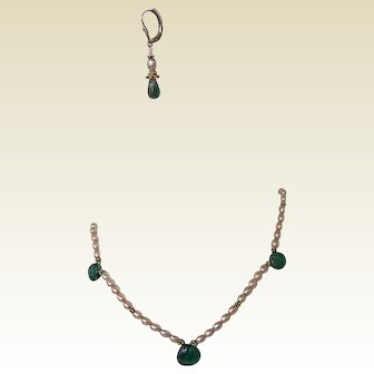 Emerald Green Hydro Thermal Quartz FW Cultured Pearl Gold Fill Necklace Earring Set