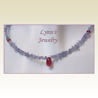 Deep Red Ruby Briolette AAA Spinel Tanzanite Sterling Silver Necklace