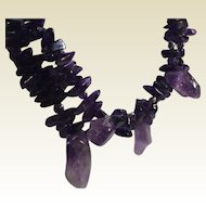 Chunky Amethyst 2 Strand Adjustable Length Necklace
