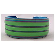 Laminated & Grooved Acetate Plastic Lime Green & Turquoise Cuff Bracelet