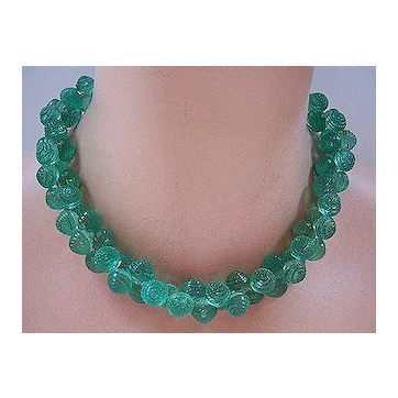 Vintage Green Plastic Textured Berry Bead Necklace