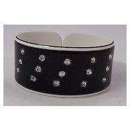 Black & White Laminate Acetate Cuff Bracelet w/ Rhinestones
