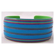Layered Laminated Grooved Plastic Cuff Bracelet ~ Turquoise, Fuschia, Lime Green