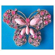 Pink Glass Butterfly Pin ~ Ornate Setting