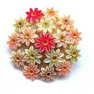 Japan Molded & Tinted Celluloid Floral Pin