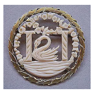 French Celluloid Cutwork Swan in Classical Setting Pin