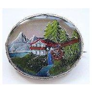 Vintage Painted Intaglio Under Glass Pin ~ Rare Mountain Scene