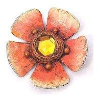 ENID COLLINS Papier Mache Flower Pin Brooch