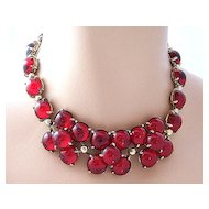 SCHIAPARELLI Collar Necklace ~ Glowing Red Glass Cabochons