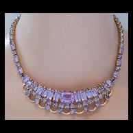 KRAMER NEW YORK Faux Alexandrite Collar Necklace & Clip Earring Demi