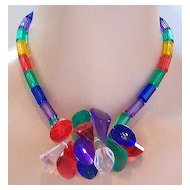 Multicolor Jeweltone Plastic Prisms & Beads Necklace