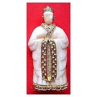 Hattie Carnegie Figural Asian Man Pin Brooch ~ Faux Ivory