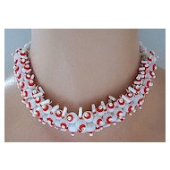 West Germany White & Red Glass Bead Choker Necklace
