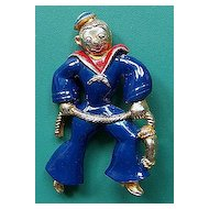 Vintage Enameled Figural Sailor Pin Brooch