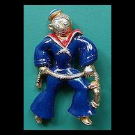 Vintage Enameled Figural Sailor Pin Brooch